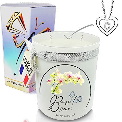 AG ArtGosse - Vela de orquídea Blanca con Cristal de Swarovski Perfume de Grasa y Mecha de Madera. La Joya Oculta se desvela después de 30 Minutos. Caja de Regalo Colgante.