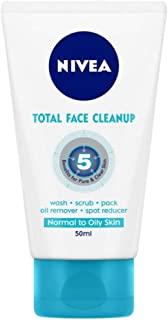 NIVEA Women Face Wash, Total Face Cleanup, acts as Face Wash, Face Scrub & Face Pack, 100 ml