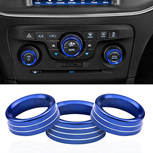 for Dodge Accessories Interior Control Knob Cover Volume/AUTO/Browse Switch Decor Trim Compatible with Dodge Challenger/Charger 2015-2021, Chrysler 200/300/300s 2015-2020 (Blue)