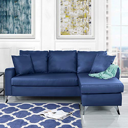 Divano Roma Furniture Bonded Sectional, Blue