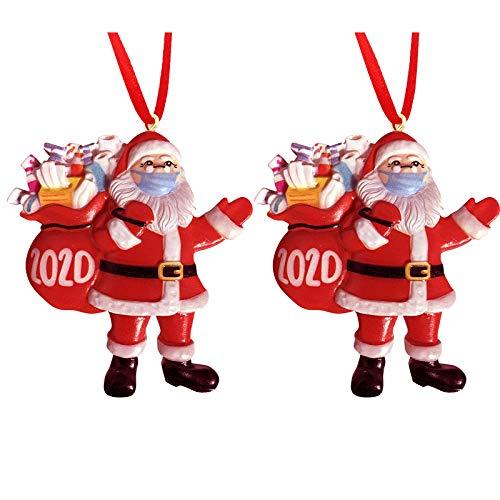 2020 Christmas Ornaments,Santa Claus with Mask Xmas Tree Decorations, Funny Decor Keepsake,Red Rope,C(2 Pcs)