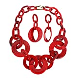 Ufraky Women Simple Acrylic Collar Chunky Choker Cluster Bib Statement Chain Necklace and Hoop Earring Jewelry Set, 18' (Red)