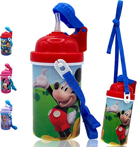 Zak Designs Disney Mickey Mouse One Touch Button Water Bottles with...