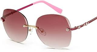 diamond inlaid marine film sunglasses ladies frameless sunglasses