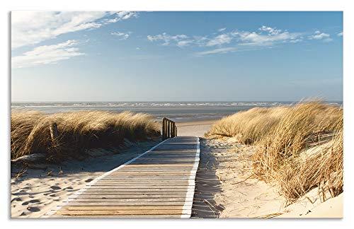 Artland Spritzschutz Küche aus Alu für Herd Spüle 50x80 cm Küchenrückwand mit Motiv Natur Strand Meer Nordsee Dünen Gräser Steg Maritim T5RM