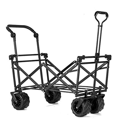 Maxmass-Foldable-Trolley-Cart-with-Adjustable-Handle-and-Removable-Canopy-Garden-Wagon-Truck-Red