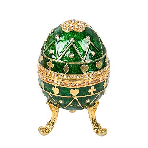 QIFU hand pintada de música, diseño de huevo de fabergé estilo decorativo con bisagras caja de joyas, Regalo Único para decoración del hogar