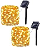 2 Pack Solar Christmas Lights, 33ft 100LED 8 Modes Solar Fairy Lights, Waterproof Decorative String Lights for Patio, Garden, Gate, Yard, Party, Wedding, Christmas [Warm White]
