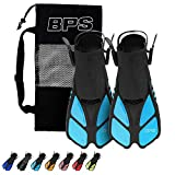 BPS Short Adjustable Swim Fins - Open-Toe and Open-Heel Design - for Diving, Snorkeling, Scuba Diving - Swim Flippers for Kids and Adults - Unisex - Comes with Bag for Storage (Aqua Blue - S/M)