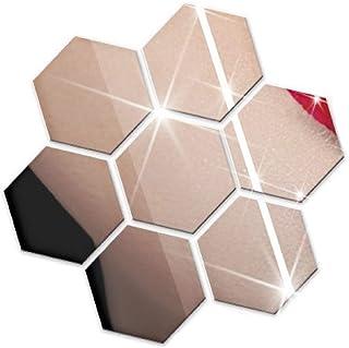 ウォール ミラー ステッカー 壁 貼り付け 剥がせる 割れない WALL MIRROR STICKER 貼る 鏡 六角形 BIRLD [ シルバー ] (Lサイズ)