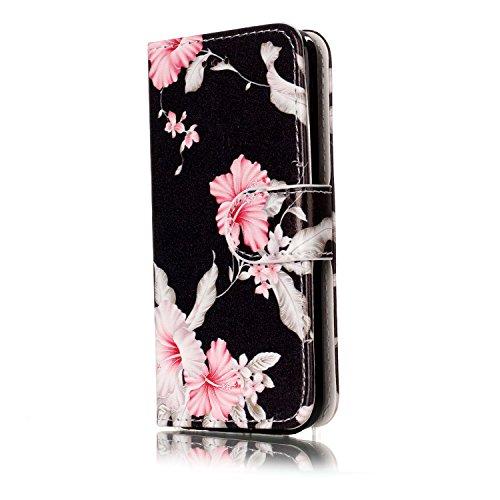 Homikon PU Leder Hülle Retro Schön Schutzhülle Brieftasche Ledertasche Bookstyle mit Lanyard Weiche Handyhülle Kunstleder Lederhülle Silikon Tasche Kompatibel mit iPhone 5C - Blume