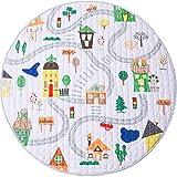 Winthome Manta para gatear alfombra bebé antideslizante tapete de juego alfombra de juegos portátil redondo manta de Picnic, diámetro 150 cm