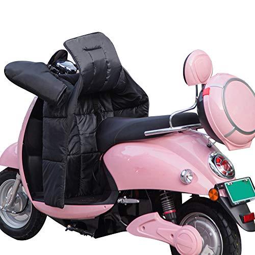Protector de piernas para motocicleta, protección contra la intemperie y las piernas, con manguitos para manillar, impermeable, resistente al viento, para moto, protección contra la lluvia (negro)