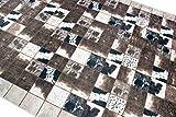 Merinos Kuhfell Imitat Teppich Patchwork Print Teppich in Braun Schwarz Creme Größe 140x200 cm - 3