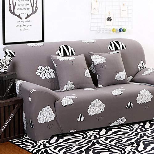 Estiramiento Funda de sofá 3 Plazas 1 Pieza Antideslizante Fundas Impresa para Sofas Sofás Cubre Sofá Ajustable Protector de Muebles 2 Fundas de Almohada Nubes Blancas Grises