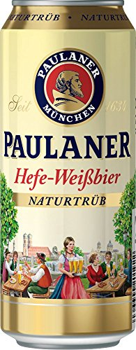 Paulaner Hefeweißbier Naturtrüb, 24er Pack, (24 x 500 ml Dosen)