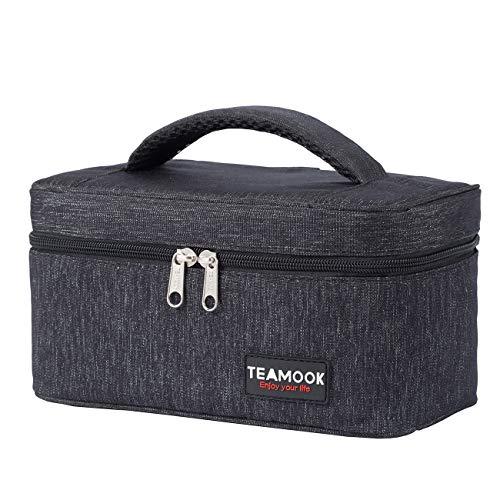 TEAMOOK 5L Kühltasche faltbar Klein Kühlkorb Kühlbox Isoliertasche Lunch-Taschen Thermotasche Picknicktasche für Arbeit Reisen Schwarz
