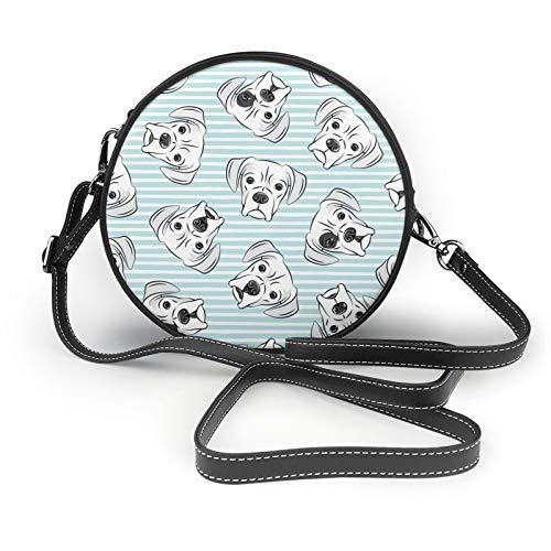 Weiße Boxershorts auf hellblauen Streifen Damen Mädchen Runde Crossbody Schultertaschen Mode Kreis Crossbody Geldbörse Clutch Handtasche