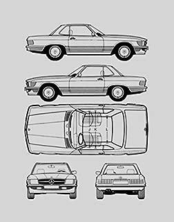 BigOfficeArt Mercedes-Benz Blueprint Print Car Wall Art Gift - Choose Your Model, 11x14