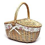 Adecuado para 2 personas Canasta de picnic de mimbre al aire libre Camping Caja de almuerzo Set Bolsa de hielo Aislamiento Bolsa de compras portátil con cubiertos (Color : Low Quality Brown)