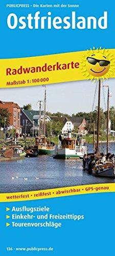 Ostfriesland: Radkarte mit Ausflugszielen, Einkehr- & Freizeittipps, reissfest, wetterfest, abwischbar. 1:100000