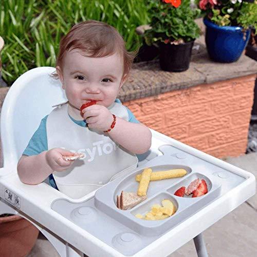 EasyMat Design für IKEA Antilop Hochstuhl Maßgeschneidertes Design Baby-Saugnapf und Platzdeckchen Bestes Zubehör für Baby LED Entwöhnung Maßgeschneidert mit starker Saugkraft (Cool Grey)