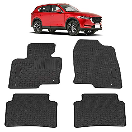 TeddyTT Floor Mats Compatible with Mazda CX-5 CX5 2013 2014 2015 2016 2017 2018 2019 2020 Heavy Duty Rubber and Odorless Front Rear Seat Floor Mat Custom Fit- All Weather Protection (4PCS)