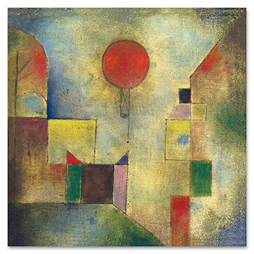 Giallobus - Quadro - Paul Klee - Palloncino Rosso - Vetro Acrilico Plexi - 50x50 - Pronto da Appendere - Quadri Moderni per la casa