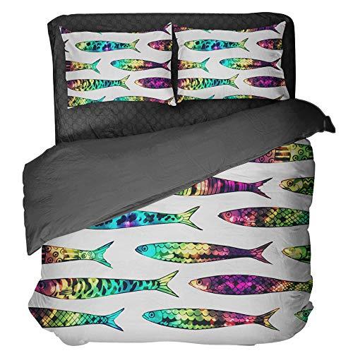 Gzsyb Bed Linen Duvet Set Cover And Pillow Case Microfibre With 1 Quilt Case 1 Pillowcases Case Seven colors carp 3D Digital Print Three - Piece Bed Linen Single 135x200 cm