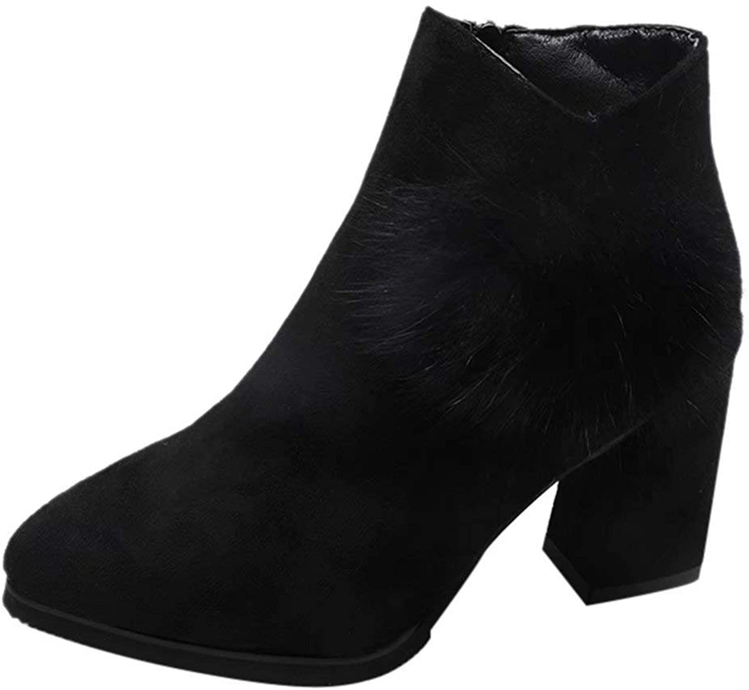 Women Junior Girls Fashion High Heel Faux Fur Pointed Toe Ankle shoes Short Boots