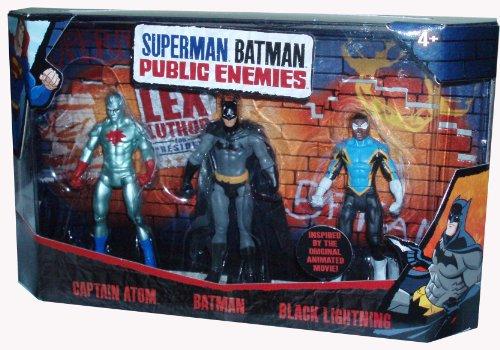 dc comics of public enemies DC Comics Superman Batman Public Enemies Series 3 Pack 4 Inch Tall Action Figure Set - Captain Atom, Batman and Black Lightning