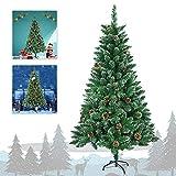 Aufun Árbol de Navidad artificial Árbol decorativo Árbol artificial con soporte de metal Árbol de Navidad Montaje y plegado más rápidos -240 CM PVC PVC verde con conos de pino