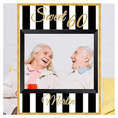 Sweet Birthday Party Photo Booth, Golden Trim Frame Prop, Size 36x24, 48x36, Personalized Gold Photo Prop, Custom Sweet 16 Photo Frame, Large Selfie Frame Props, Birthday Photobooth Frame Party Supply