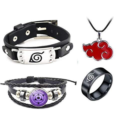 Imcneal 2 pulseras de aleación de plata con diseño de anime Naruto con collar y anillo