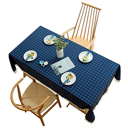 QKEMM Mantel para Mesa de Fácil Limpieza Ligero y Resistente Al Desgaste Manteles Estampados Antimanchas Azul Marino 140×180cm