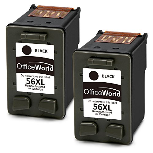 OfficeWorld 56 XL Remanufacturado HP 56 56XL Cartuchos de tinta 2 Negro Compatible con HP PSC 1210 1215 1315,HP Deskjet 5150 5550 450Ci,HP Photosmart 7350 7660 7760,HP Officejet 5610 4212 4215