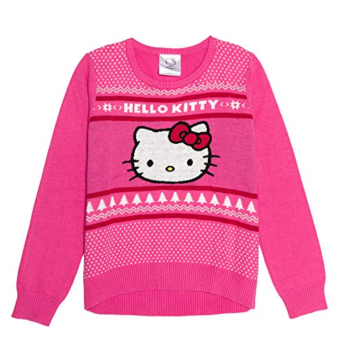 Hello Kitty Girls' Ugly Christmas Sweater, Pink, Large (10/12)