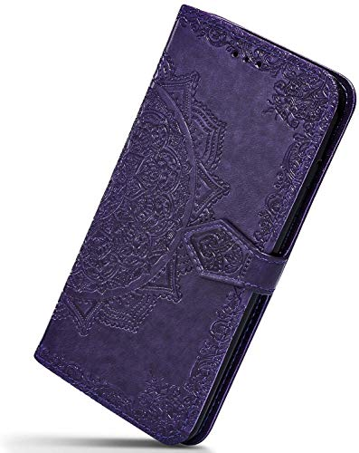 Herbests Kompatibel mit Huawei P20 Pro Hülle Klapphülle Leder Tasche 3D Vintage Mandala Blume Muster Flip Schutzhülle Wallet Handyhülle Case Klappbar Magnetisch Etui mit Kartenfach,Lila