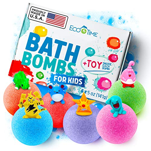 Handmade Bath Bombs for Kids with Surprise Toys Inside -100% Natural and Organic Ingredients - Perfect 3 Year Old Girl Toys or Even 5 Year Old Boy Gifts - Six Large Bath Bombs in Six Different Colors