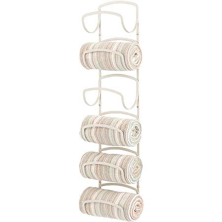 mDesign Porte-Serviettes Mural Pratique en métal – Support-Serviette Salle de Bain 6 Niveaux – étagère Porte-Serviette Gain de Place pour Ranger Serviettes de Main, etc. – crème