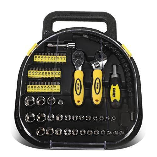 DNA Motoring TOOLS-00027 Yellow 64 Pcs Handy Small Fastener Removal Tool Set Screwdriver Bits+Ratchet+Sockets
