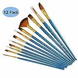 Tweal Brochas de Pintura 12 Piezas Brocha Profesional Punta Redonda,Conjunto De Pinceles De Artista De Nylon para Acrílico Acuarela Pintura Al Óleo de Crafts-Azul