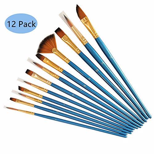Tweal Verf Borstels Set,12 Pack Ronde Punt Nylon Haar Artiest Acryl Borstel voor Acryl Aquarel Olieverfschilderij-Blauw