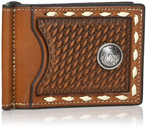 Nocona Belt Co. Men's Nocona Basket Stamp Buckstitch Interior Money Clip Wallet, brown, One Size