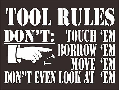 INDIGOS UG - Aufkleber - Sicherheit - Warnung - Tool Rules DONT TUCH THEM Retro Zeichen, man cave, bar,pub, garage -30x20 cm