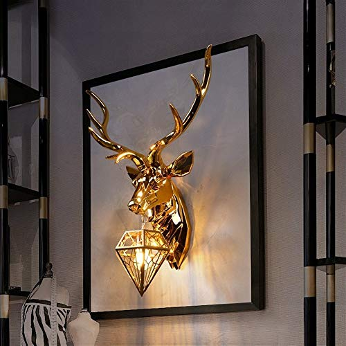 W-L Wall Sculptures Antler Wall Lamp Creative Wall Lamps Deer Lamp For Bedroom Buckhorn Kitchen Wall Lights For Home Decor Stags Head Decoration (Lampshade Color : Gold big)