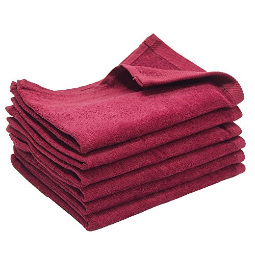 "IZO All Supply Fingertip Towels Premium 100% Cotton Terry-Velour Wash Cloth Set of 4, 11"" x 18"" (Burgundy)"