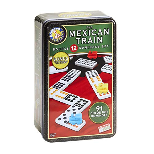 The Mexican Train Dominoes - 91 Color Dot Double 12 Dominoes