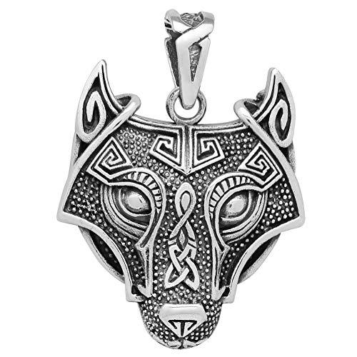 schmuxxi Keltischer Wolf Anhänger 925 Silber Wikinger Biker Kettenanhänger für Damen und Herren