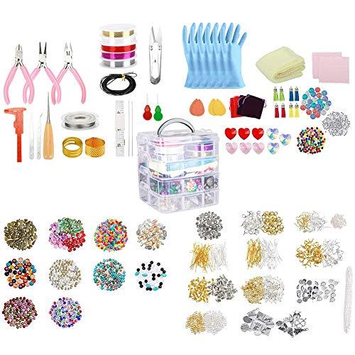 Kit de suministros para hacer joyas, aretes, set de bricolaje con cuentas, alicates de cuentas de alambre para collar, pulsera y pendientes, 2035 piezas
